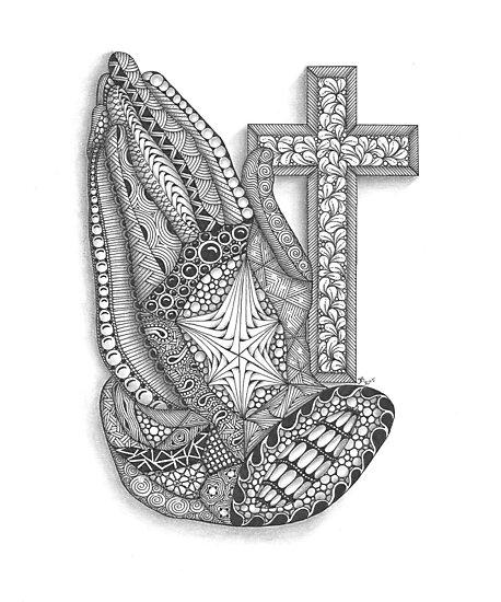 Praying Hands Zentangle Inspired Art by Tabitha Barnett