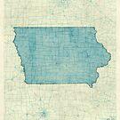 Iowa State Map Blue Vintage by HubertRoguski