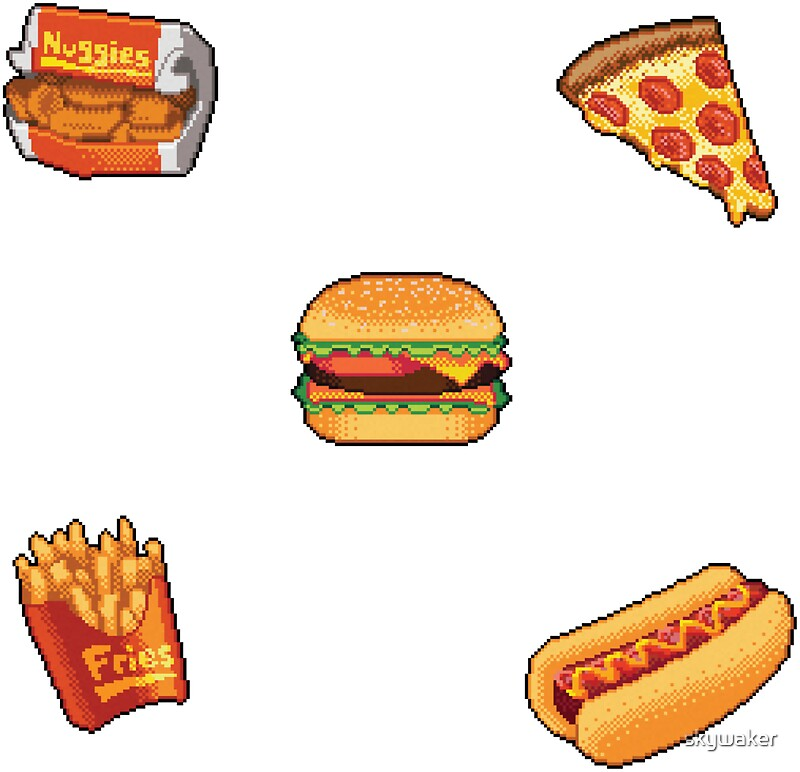Pixel fast food sticker set stickers by skywaker redbubble - Stickers miroir cuisine ...