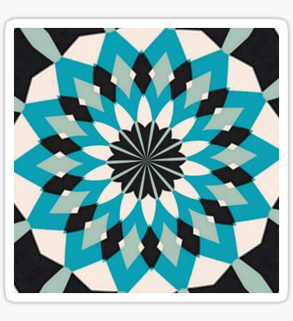 Teal Blue, Grey and White Floral Abstract Sticker