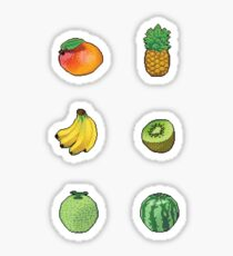 Pixel Tropical fruits sticker set Sticker