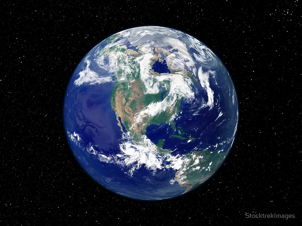 Fully lit Earth centered on North America. by StocktrekImages