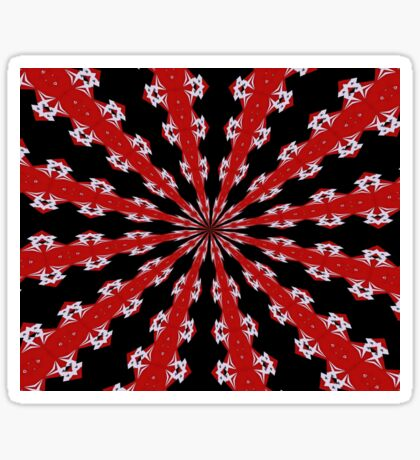 Red Black and White Abstract Sticker