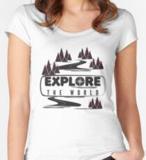 Explore the world. Typography Women's Fitted Scoop T-Shirt