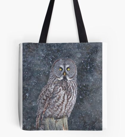 Great Grey Owl in Snow Tote Bag