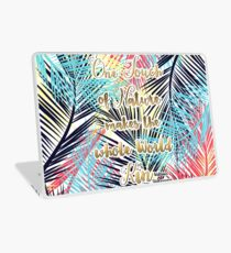 Tropical leaves Nature gold quote design Laptop Skin