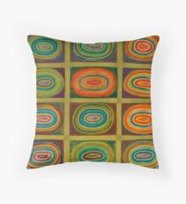 Ringed Ovals within Hatched Grid Throw Pillow
