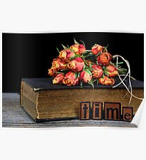 orange rose bouquet on vintage book Poster