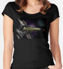 Space Battle Cruiser  Women's Fitted Scoop T-Shirt