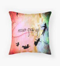 Nebula Galaxy Never grow up Throw Pillow