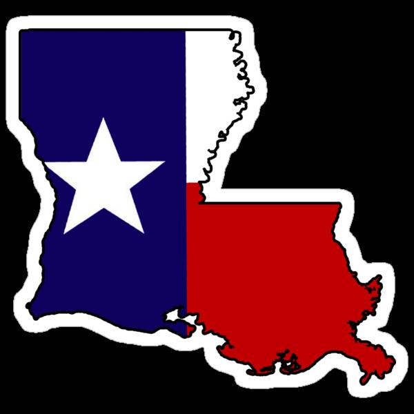 """Texas flag Louisiana outline"" Stickers by artisticattitud ..."