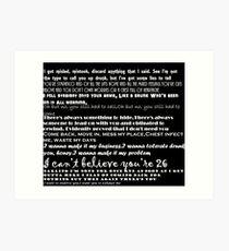 Catfish&the bottlemen lyrics Art Print