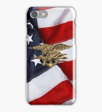 U.S. Navy SEALs Trident over American Flag  iPhone Case/Skin