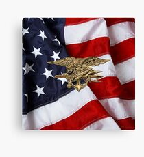 U.S. Navy SEALs Trident over American Flag  Canvas Print