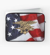 U.S. Navy SEALs Trident over American Flag  Laptop Sleeve