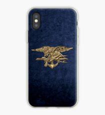 US Navy SEALs Trident über blauen Samt iPhone-Hülle & Cover