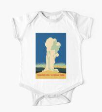 Yellowstone retro vintage cone geyser travel ad Kids Clothes