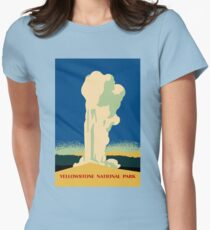 Yellowstone retro vintage cone geyser travel ad Women's Fitted T-Shirt