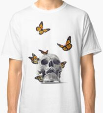 Skull with Monarch Butterflies Classic T-Shirt