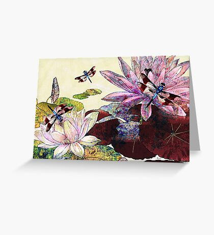 DRAGONFLIES AND LOTUS Greeting Card