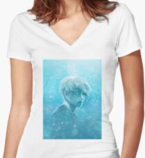 // lonely, lonely, lonely whale // Women's Fitted V-Neck T-Shirt