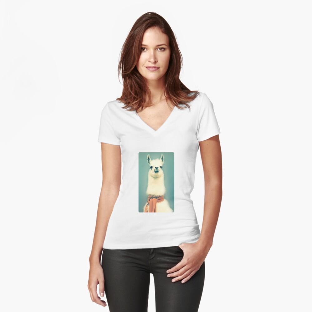 Llama Camiseta entallada de cuello en V
