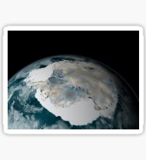 The frozen continent of Antarctica and its surrounding sea ice. Sticker
