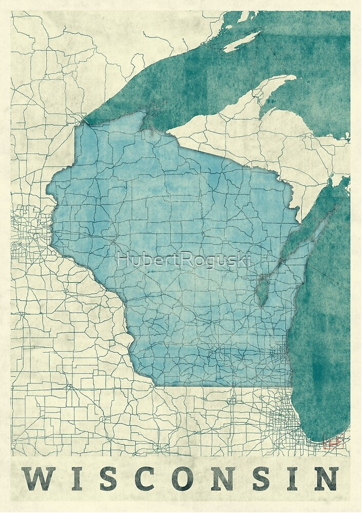 Wisconsin State Map Blue Vintage by HubertRoguski
