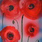 Rossi papaveri astratti in fiore by George Hunter