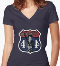 44 Magnum Women's Fitted V-Neck T-Shirt