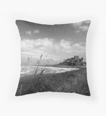 Bamburgh Castle Northumberland Coast Throw Pillow
