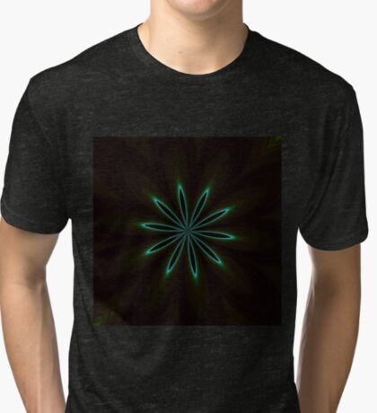 Contemporary Teal Floral on Black Tri-blend T-Shirt