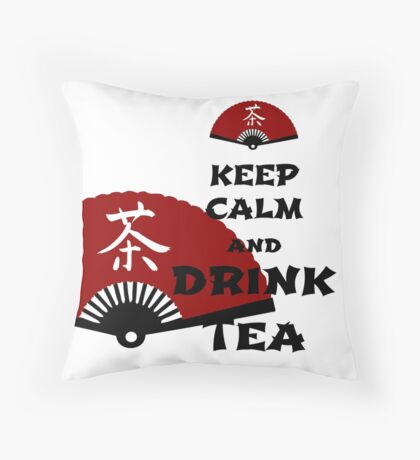keep calm and drink tea - asia edition Throw Pillow