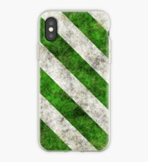 Grungy Green and White Diagonal Stripes iPhone Case