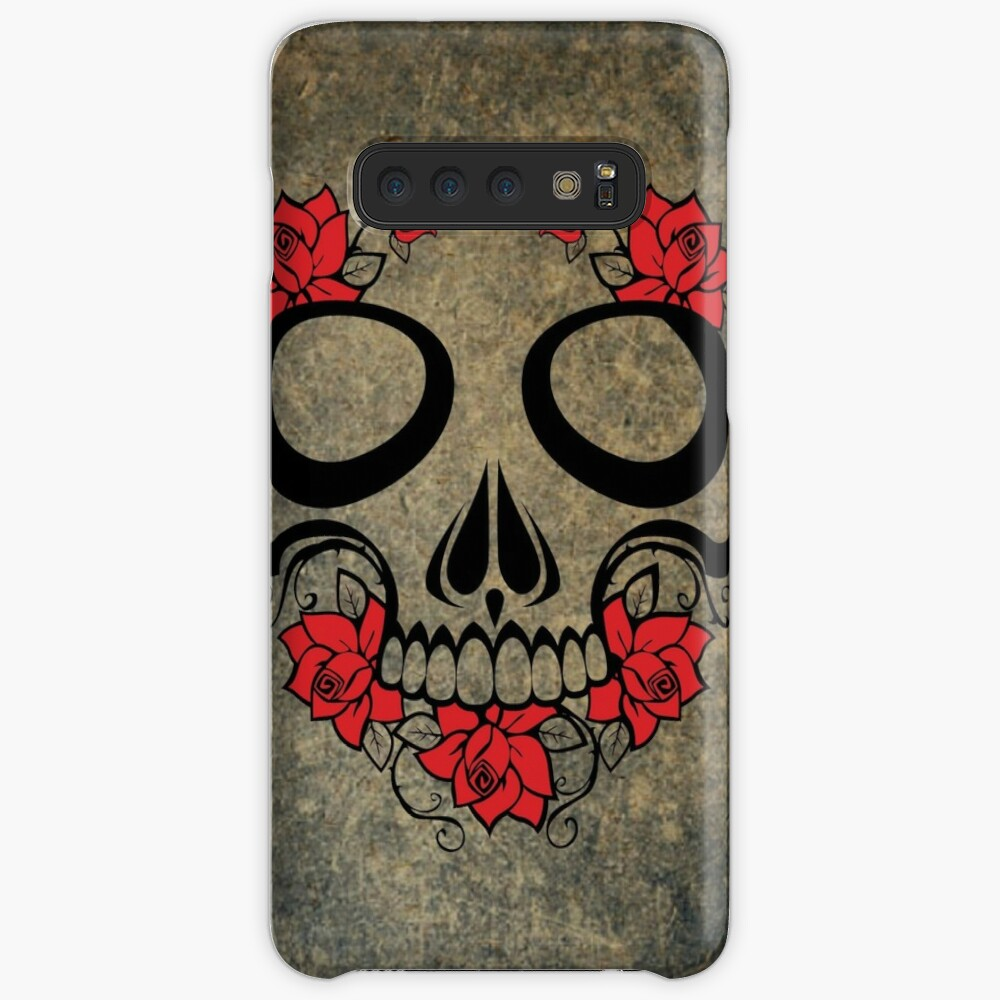Vintage Day of the Dead Dia de Muertos Skull Funda y vinilo para Samsung Galaxy