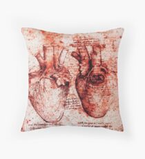 Heart And Its Blood Vessels. Leonardo Da Vinci, Anatomy Drawings Red Throw Pillow