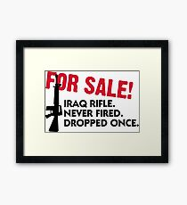 Rifle for sale. Only once fired. Framed Print