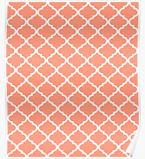 Coral Pink White Quatrefoil Pattern Poster
