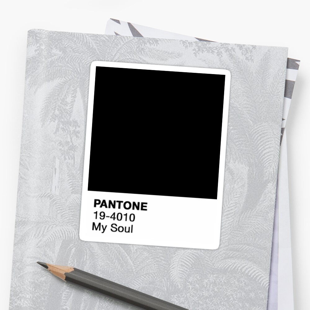 Quot Pantone Black Soul Quot Sticker By Gracieallen95 Redbubble