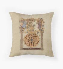 Decorated Initial D - D[eu]s qui Hodierna Die (1000 - 1025 AD) Throw Pillow