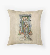 Medieval Miniature - Saint Hedwig of Silesia with Duke Ludwig of Legnica and Brieg and Duchess Agnés (1353 AD) Throw Pillow