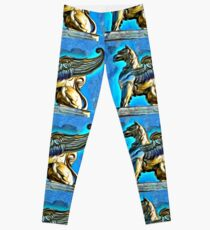 A digital painting of a Gryphon on TheTheodor Costescu Cultural Palace in Romania Leggings