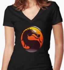 MORTAL KOMBAT PIXEL LOGO Women's Fitted V-Neck T-Shirt