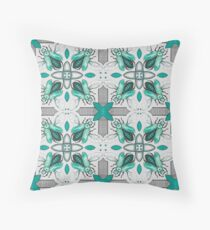 Green Beetle Tile on Grey Throw Pillow