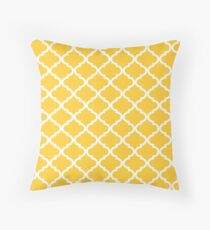 Mustard Yellow White Quatrefoil Pattern Throw Pillow