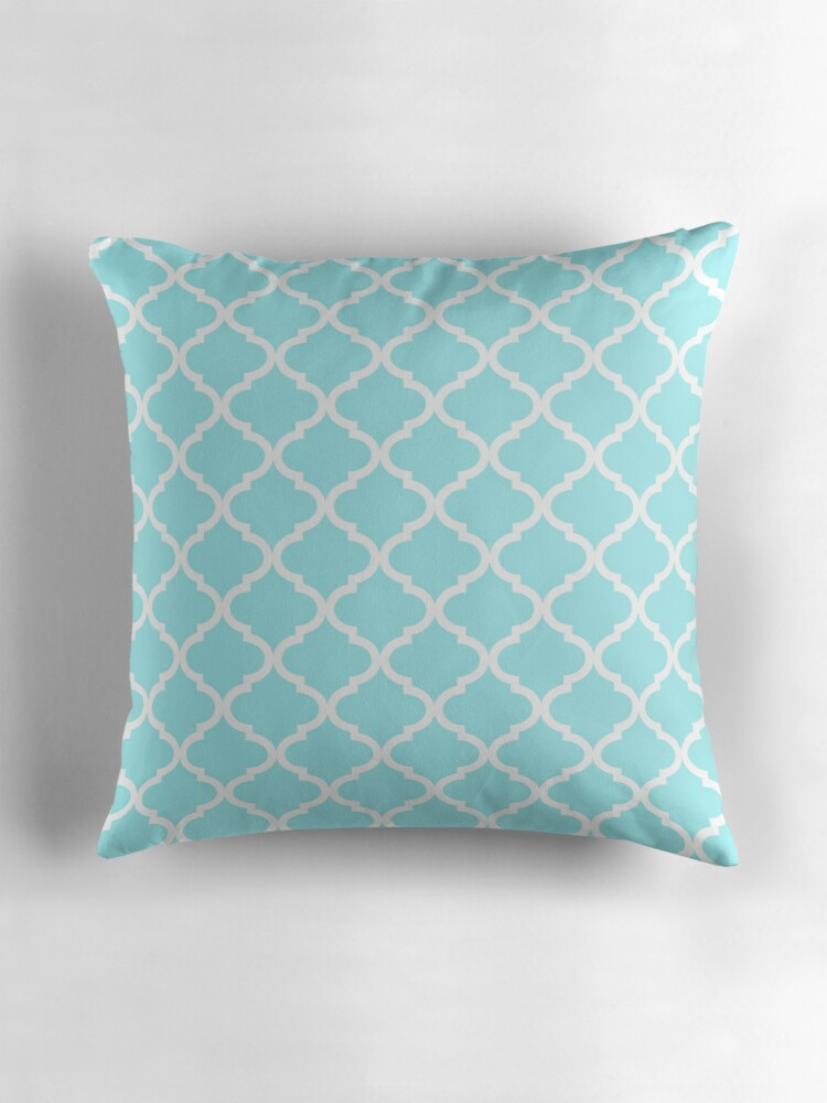Light Blue Patterned Throw Pillow :