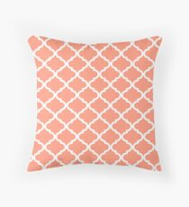 Coral Pink White Quatrefoil Pattern Throw Pillow