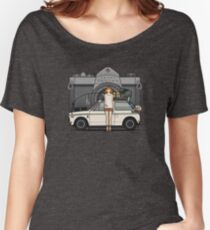 Honda N600 Rally Kei Car With Japanese 60's Asahi Pentax Commercial Girl Women's Relaxed Fit T-Shirt
