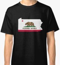 Camiseta clásica Contorno de la bandera de California Pennsylvania