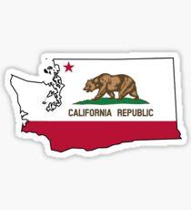California flag Washington outline Sticker